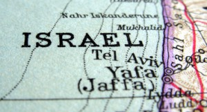 close up image of Israel on a map
