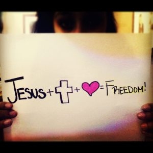 Jesus + cross + heart = Freedom