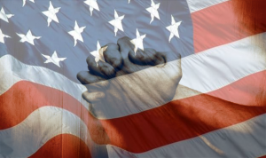 American Flag with praying hands